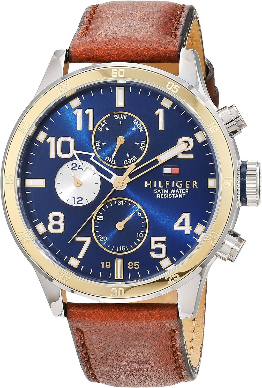 Reloj para hombre Tommy Hilfiger 1791137, mecanismo de cuarzo, diseño con varias esferas, correa de piel.