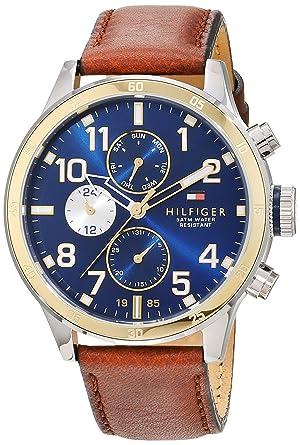 Reloj para hombre Tommy Hilfiger 1791137, mecanismo de cuarzo, diseño con varias esferas, correa de piel.: Amazon.es: Relojes