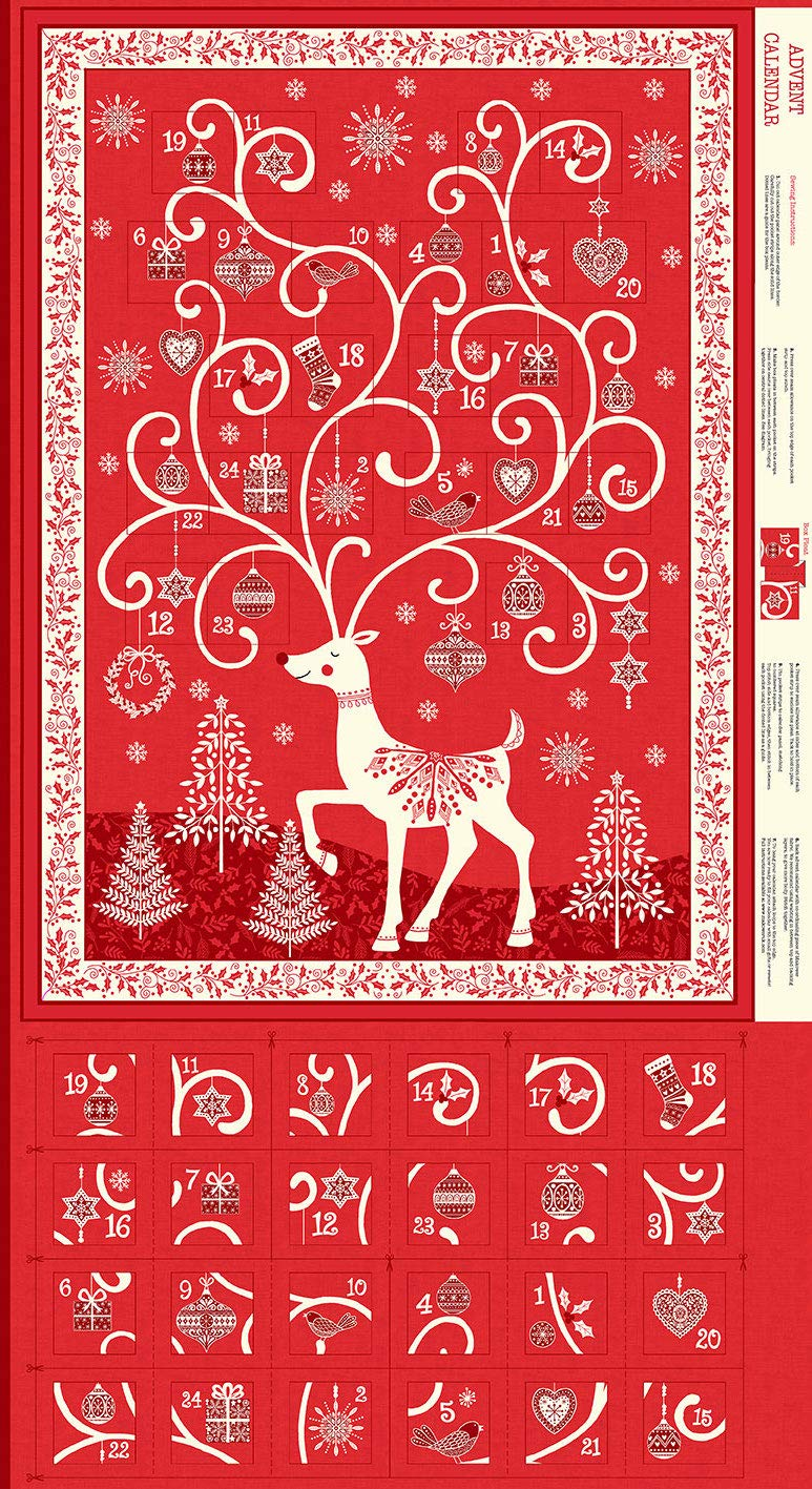 Makower Panneau calendrier de lAvent de No/ël Faites votre propre panneau de lAvent Festive Advent Calendar Panel