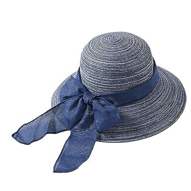 88018a2918f72 YJZQ Femme Chapeau de Soleil Élégant Chapeau Capeline en Paille Casquette  Panama Pliable Pouêt-Pouêt