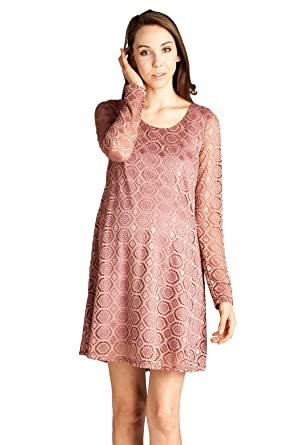 58013dea53b Lace Swing Baby Shower Dress Mauve L  Amazon.in  Clothing   Accessories