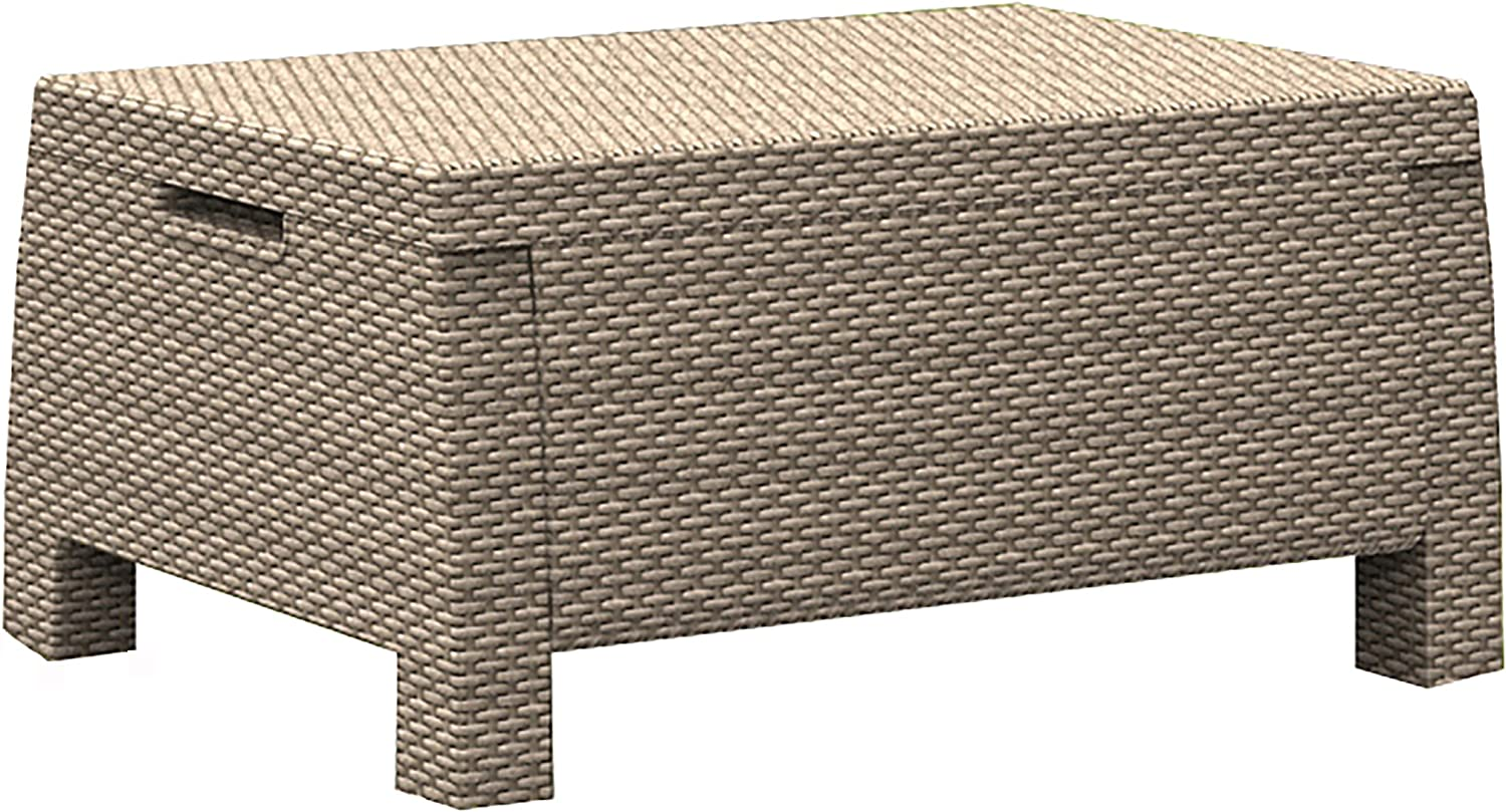 Keter Corfu Outdoor Garden Coffee/Storage Table - Cappuccino