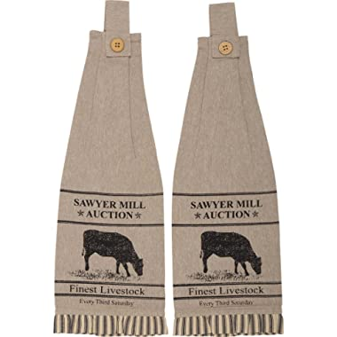 VHC Brands Farmhouse Housewarming Tabletop Miller Farm Charcoal Cow Fabric Loop Cotton Stenciled Chambray Nature Print Kitchen Towel Set of 2, One Size, Khaki Tan