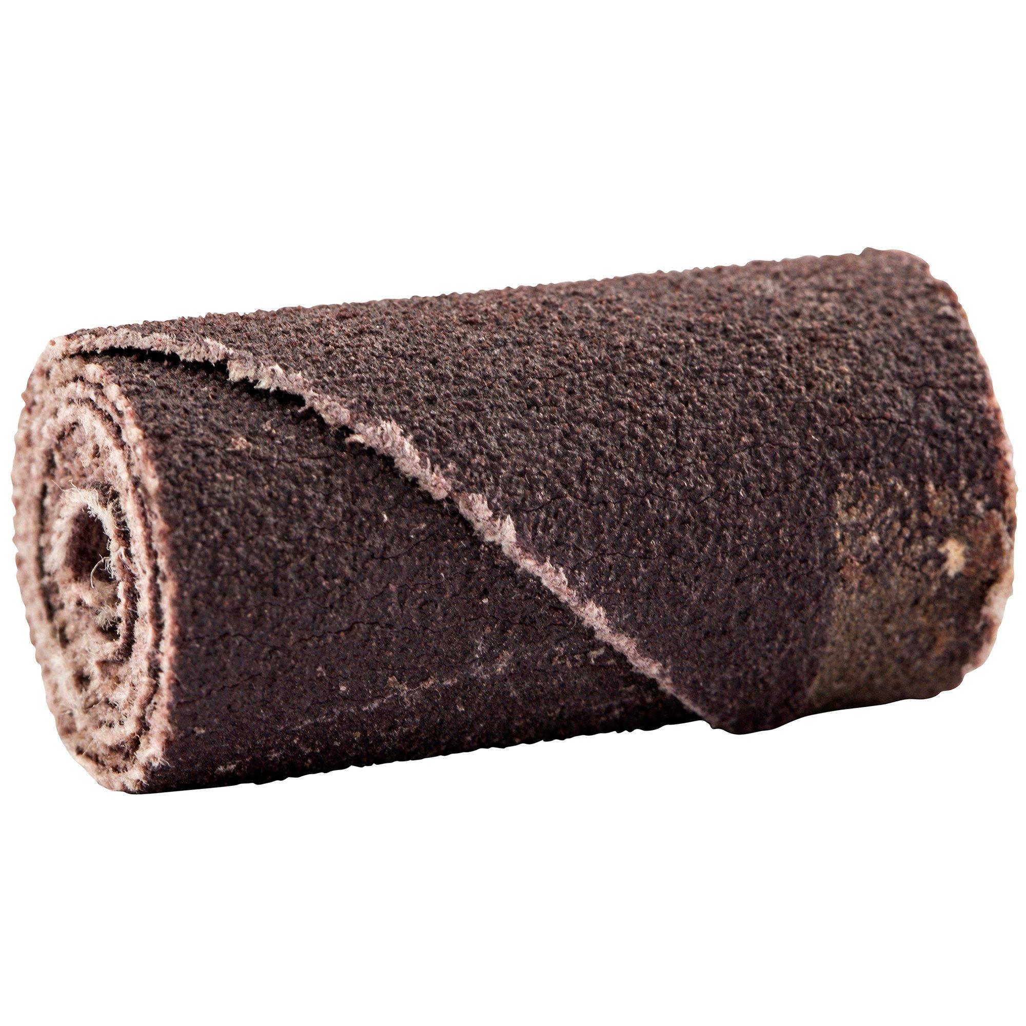 Merit Abrasive Cartridge Roll, Aluminum Oxide, 1/8'' Arbor, Roll 1/2'' Diameter x 1'' Length, Grit 60 (Pack of 100)