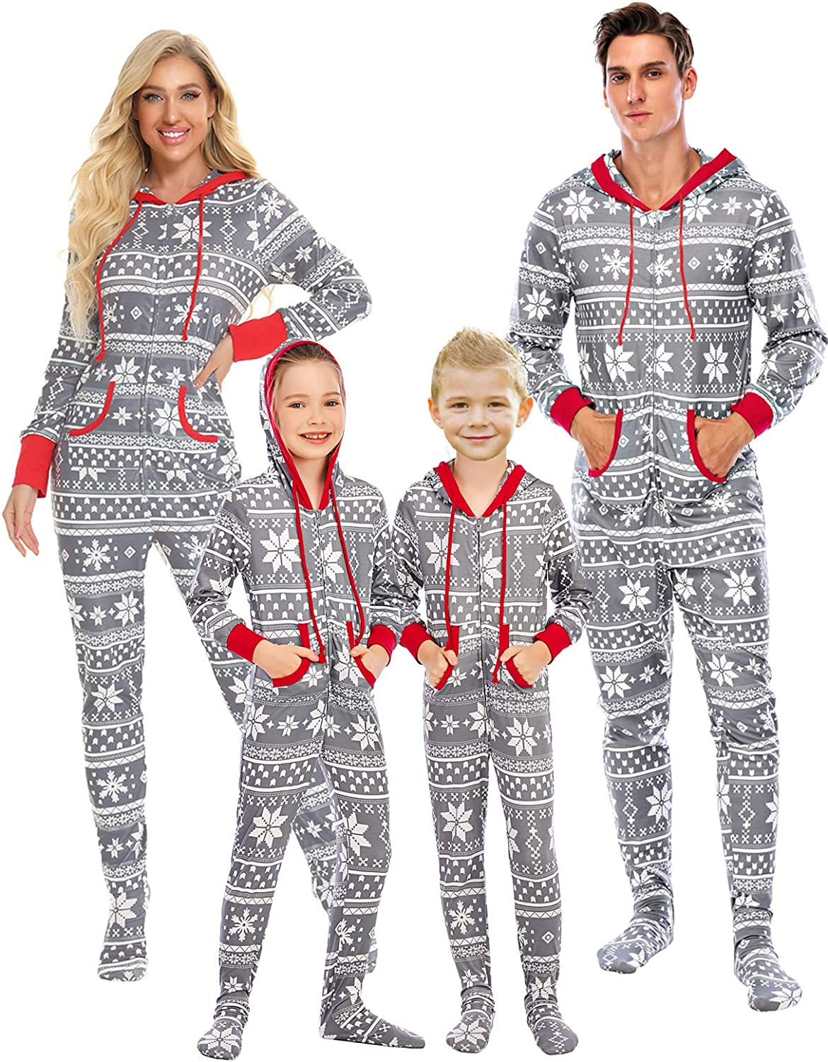 Family Matching Christmas Jumpsuit Pajamas Set Snowflake Pattern One-Piece Hooded Zip Front Rompers for Dad Mom Children