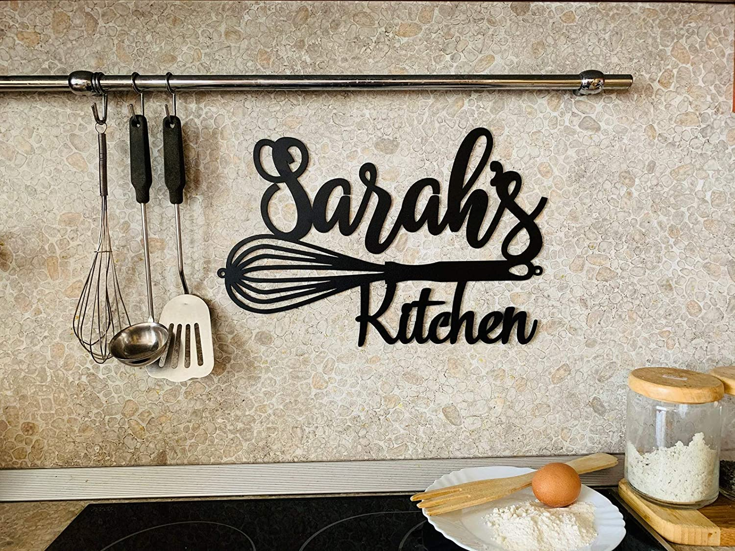 Personalized Metal Sign for Kitchen, Custom Kitchen Name Sign, Wall Art Decor, Housewarming, Mothers Day Gift, Mom's Kitchen, Gift for Grandma, Farmhouse, Chef Name, Kitchen Wall Art, Kitchen Plaque