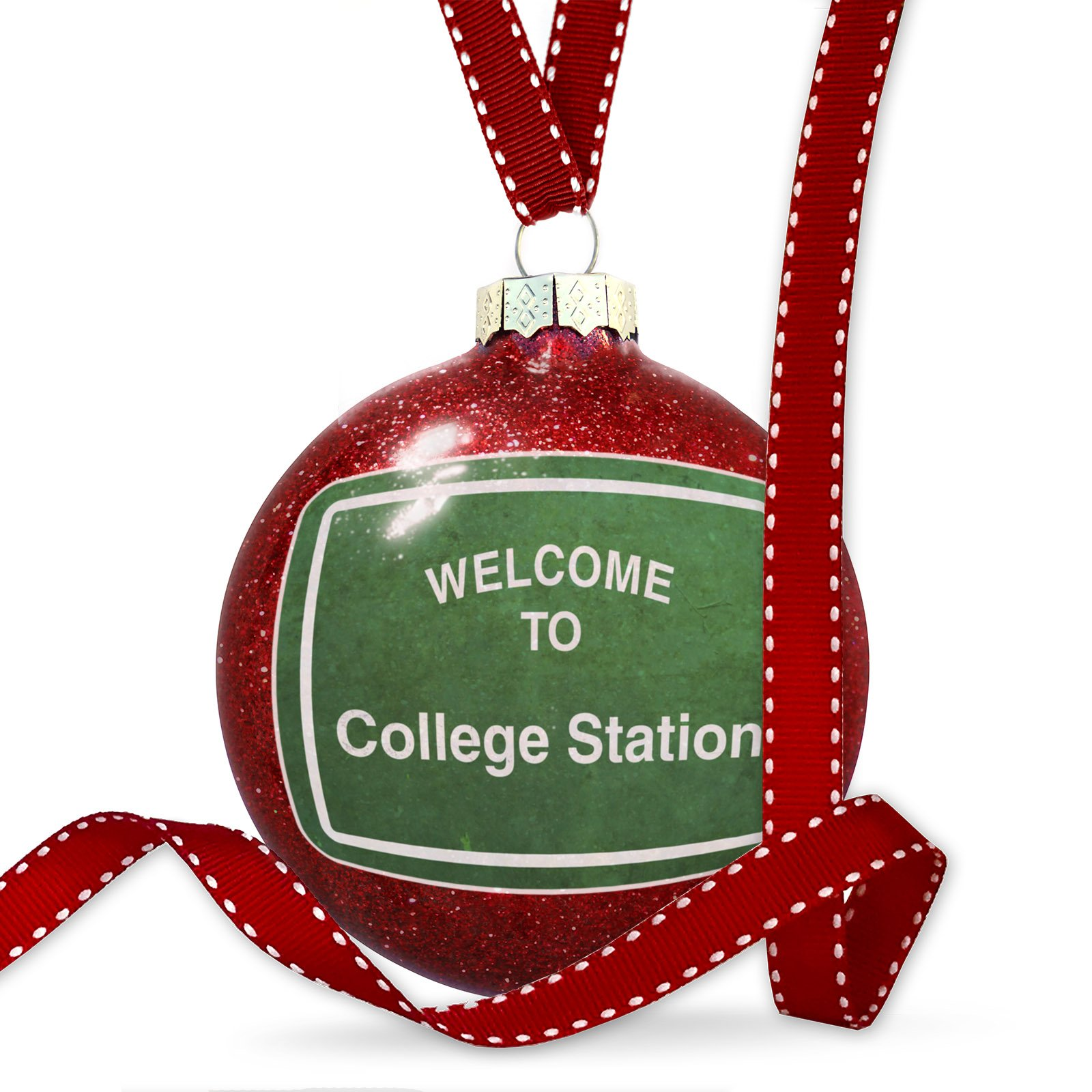 Christmas Decoration Green Road Sign Welcome To College Station Ornament