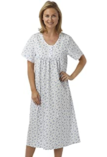 LADIES SHORT SLEEVED COTTON MIX NIGHTIES NIGHTWEAR 10 TO 24 NIGHTDRESS