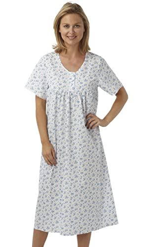 Marlon Ladies Short Sleeved Long Poly/Cotton Nightdress. Blue, Pink or Lilac Floral Print. Sizes 10-12 12-14 16-18 20-22 24-26 28-30