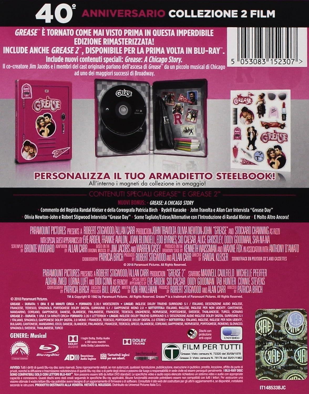 Grease Boxset 1 & 2 40° Anniversario - Steelbook + Magneti Italia Blu-ray: Amazon.es: John Travolta, Olivia Newton-John, Michelle Pfeiffer, ...