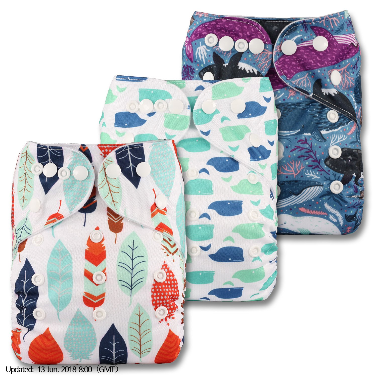 Littles & Bloomz, Reusable Pocket Cloth Nappy, Fastener: Popper, Set of 3, Patterns 317, With 6 Bamboo Inserts