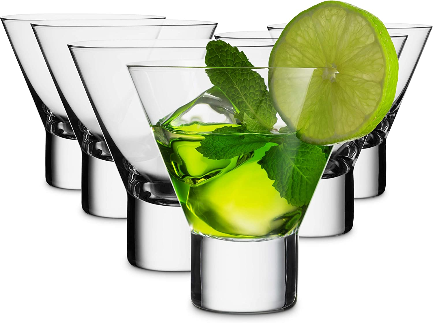 Mitbak 8-Ounce Martini Glasses (Set of 6) | Elegant Lead Free Reusable cocktail Cups | Great for Martini, Cocktail, Whiskey, Liquor, Margarita, Hurricane & Other Alcoholic Beverages | Made In Slovakia