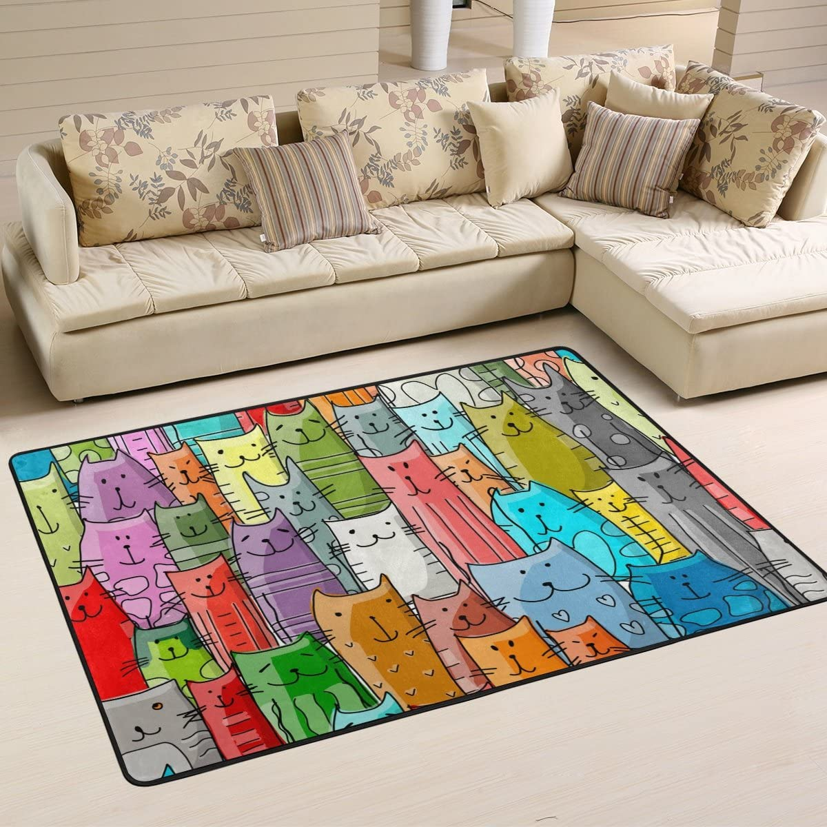 Naanle Colorful Animal Area Rug 2 x3 , Funny Cats Family Pattern Polyester Area Rug Mat for Living Dining Dorm Room Bedroom Home Decorative