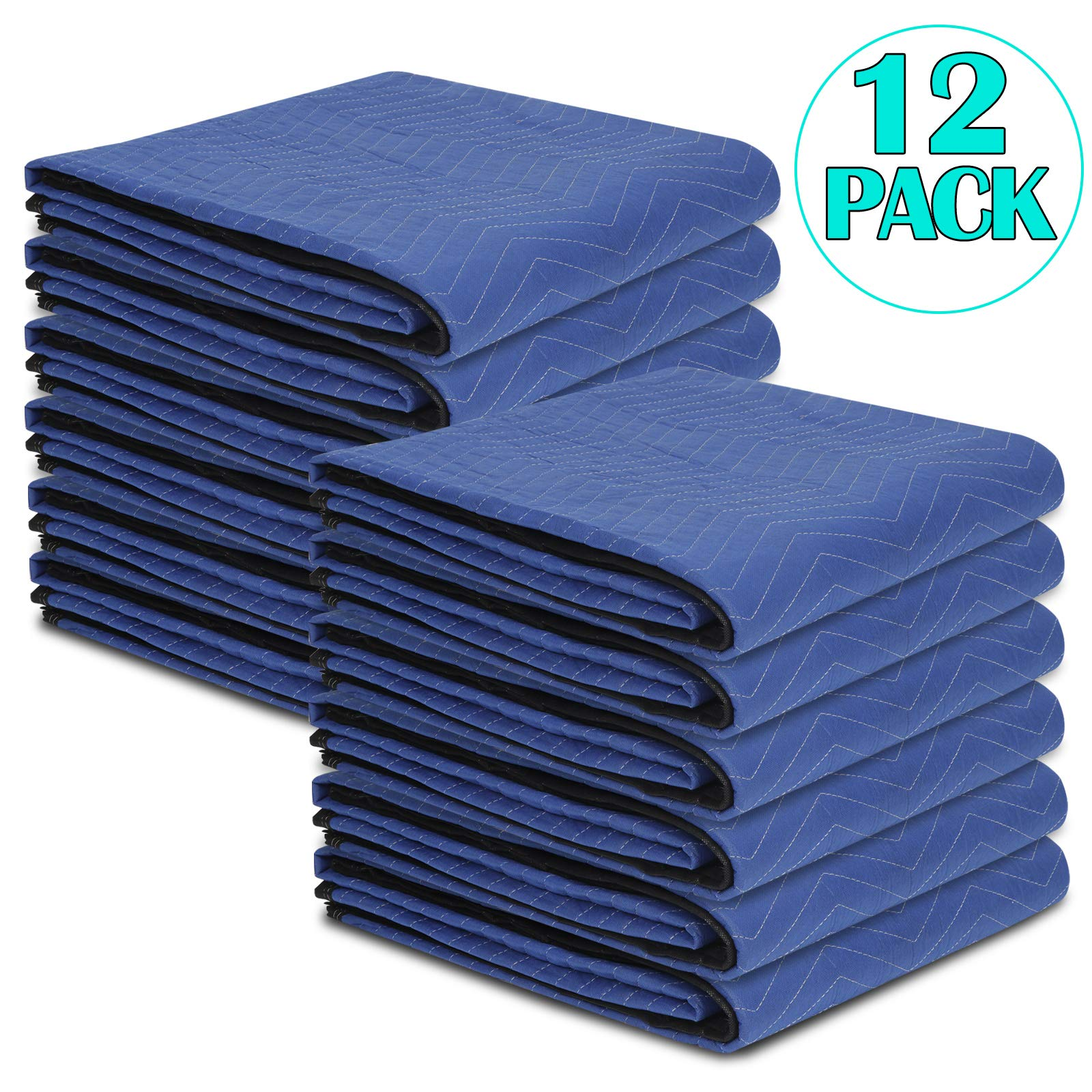 ZENY 12 Moving Blankets Packing Blankets Ultra Thick Pro - 80'' x 72''(35lb/dz Weight) Shipping Furniture Pads Furniture Movers
