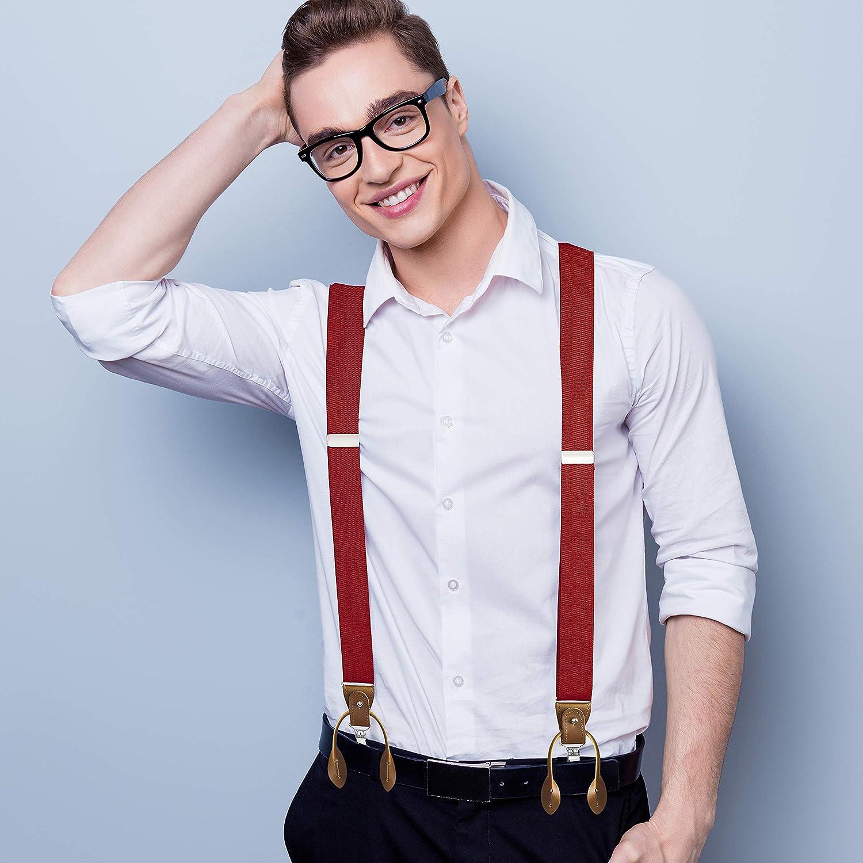 Buyless Fashion Hombres Tirantes El/ásticos Ajustables 48 Clips Y Back Y Botones