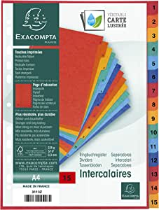 Exacompta Printed Indices, A4, 225gsm, 15 Part (1-15)- Multi-Coloured