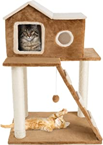 """3 Tier Cat Tree- Plush Multilevel Cat Tower with Scratching Posts, Climbing Ladder, Cat Condo and Hanging Toy for Cats and Kittens By PETMAKER (34.5"""")"""