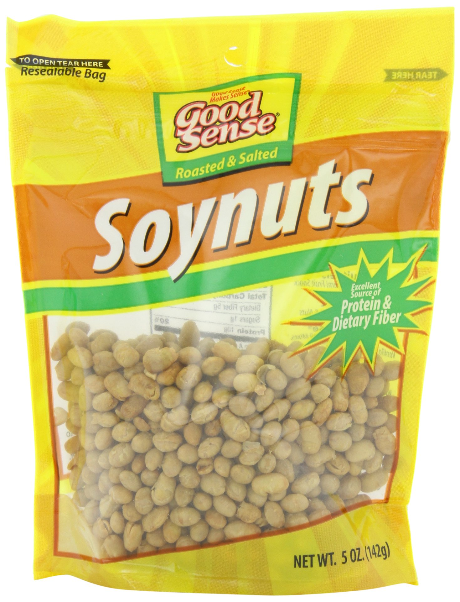 Good Sense Roasted & Salted Soynuts, 5-Ounce Bags (Pack of 12) by Good Sense