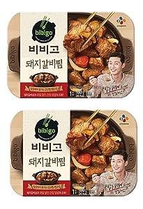 Cj Bibigo Korean Pre-made Packaged Food Pork Galbi-jjim, Slow Cooker Soy Sauce Pork Stew 180gram (pack of 2) 비비고 돼지 갈비찜