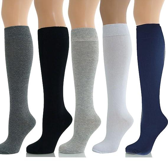 THE FASHIONISTA - Calcetines hasta la rodilla - para mujer Negro azul marino 37-41: Amazon.es: Ropa y accesorios
