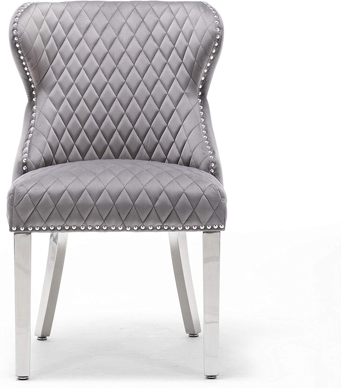 Luxury Velvet Blue Tufted Back Lion Head Knocker Back Chair Chrome Legs