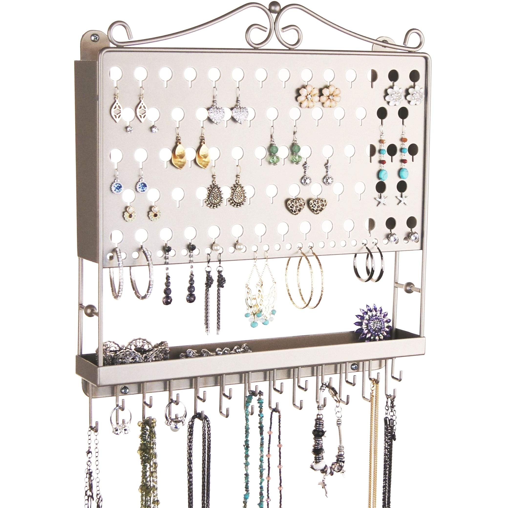 Angelynn's Hanging Jewelry Organizer Earring Holder Wall Closet Necklace Storage Bracelet Rack, Satin Nickel Silver