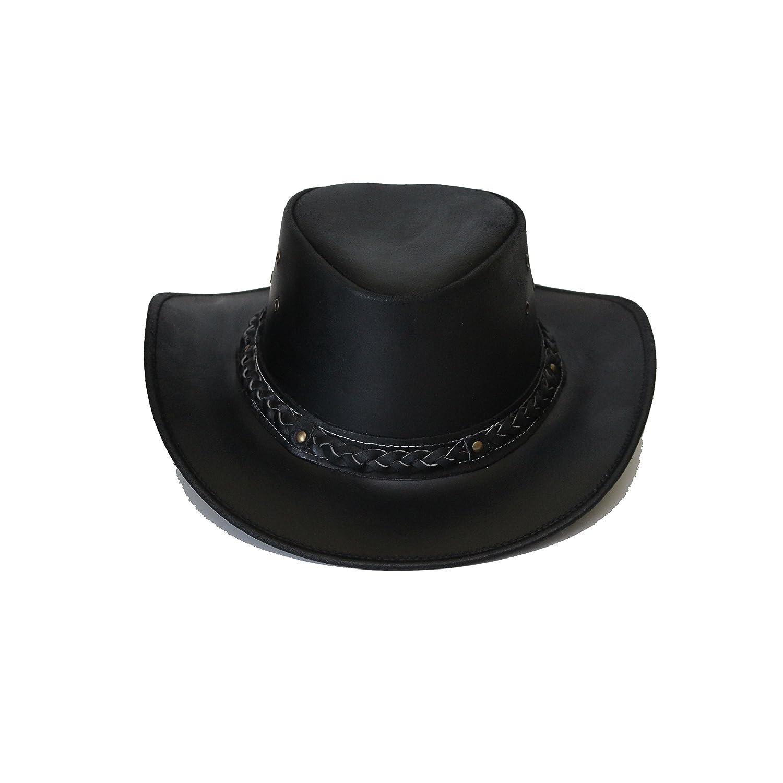 Cappello australiano del bastone, cappello di cuoio dell'estremitˆ occidentale di stile del cowboy disponibile nero e marrone AussieHat-V