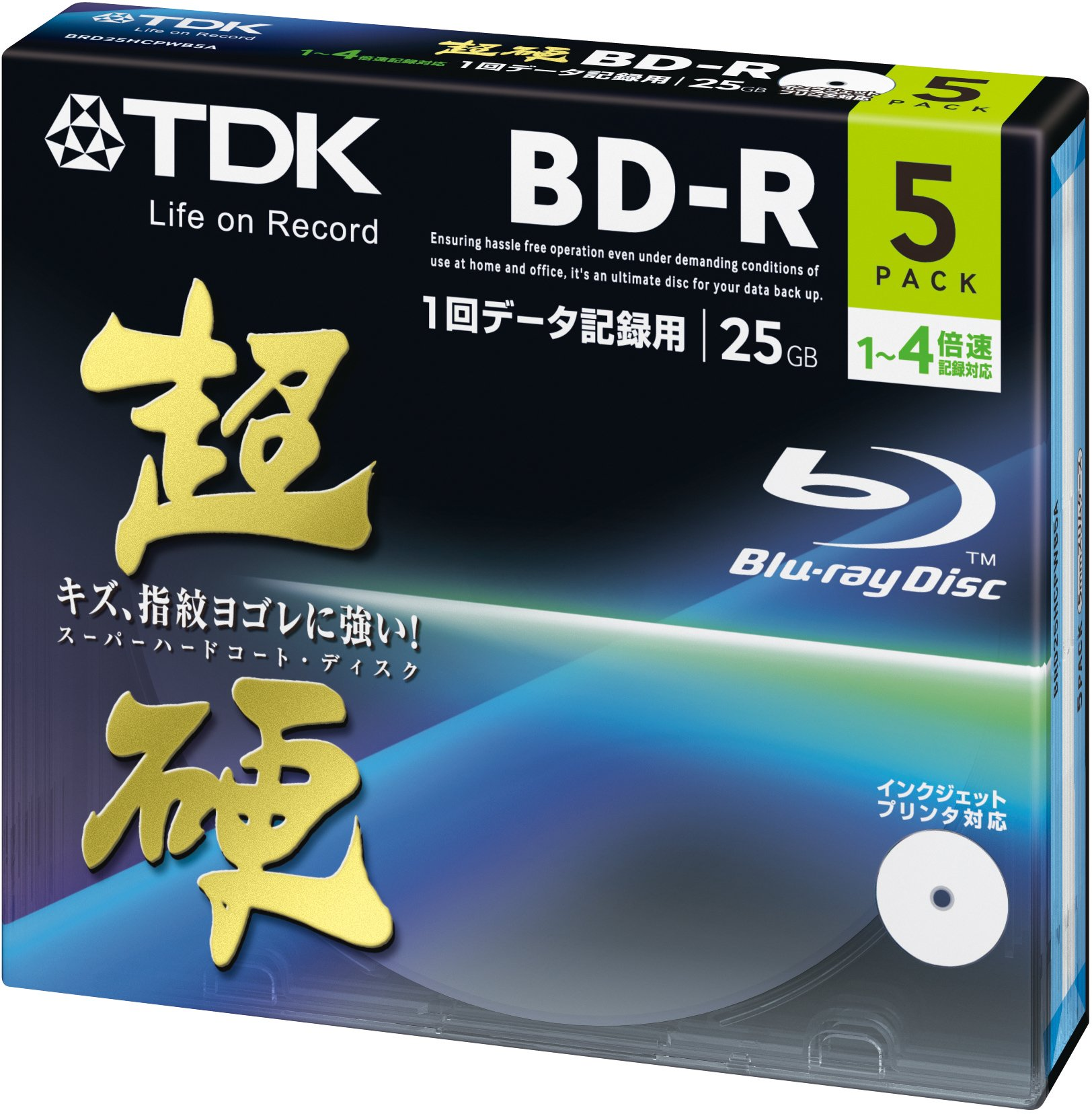 TDK Blu-ray BD-R Disk for PC Data | Super Hard-Coating | 25GB 4x Speed 5 Pack (Japanese Import)