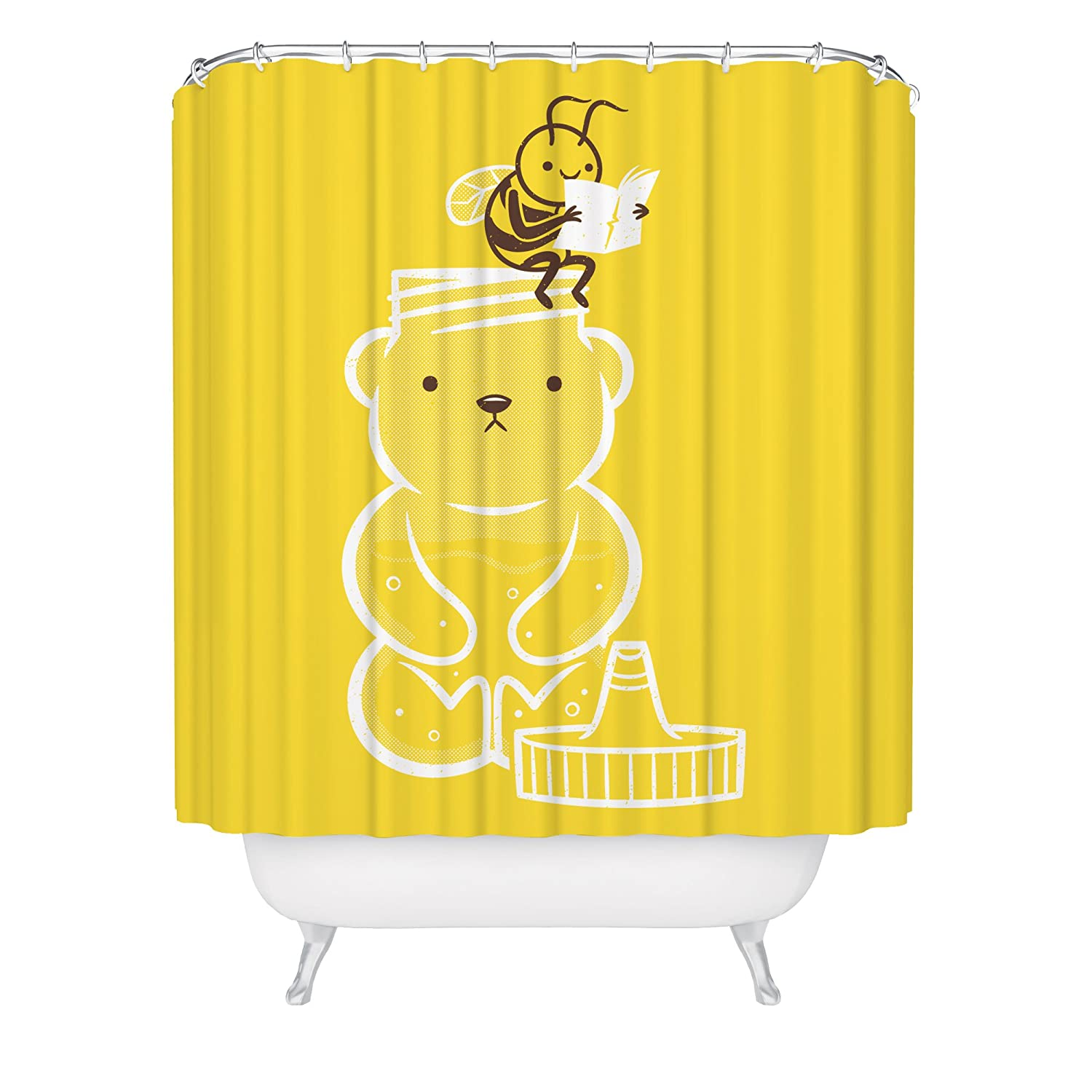 Honey Bear Shower Curtain / Bee Shower Curtain / Cute Funny Bee Artwork / Makng Honey / Bathroom Humor / Fabric Shower Curtain / Made in USA / Great Decoration Gift for Bathroom
