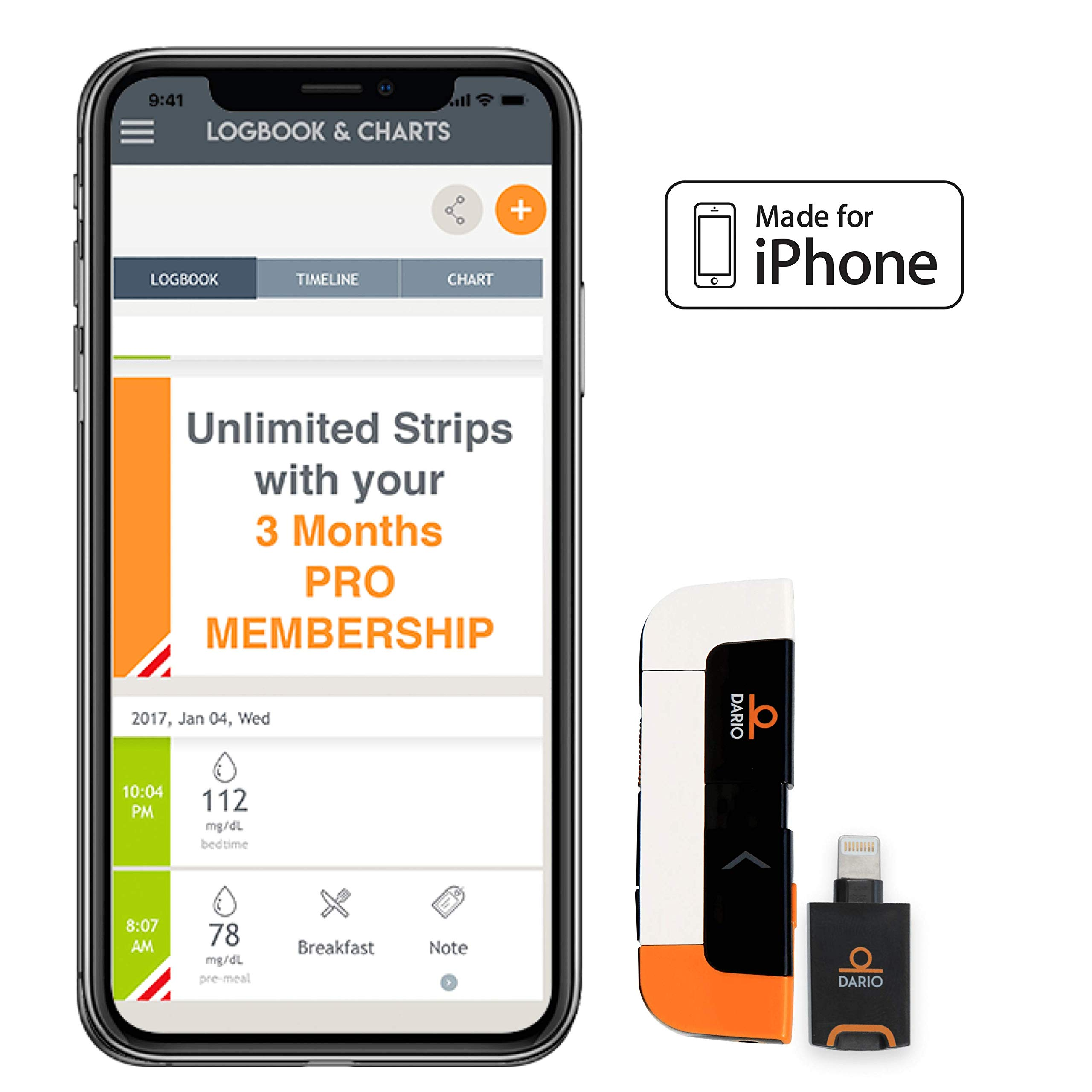 Dario LC Blood Glucose Monitoring System for iPhone with 3-Month Pro Membership. Get The All-in-One Meter, Unlimited Test Strips, Personal Weekly Reports, and Your Own Personal Dario Specialist