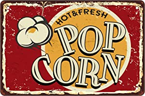 Asoodoo HOT & Fresh POP Corn Vintage Metal Tin Sign, Retro Sign Food and Snacks Wall Decor for Men Women,Bars,Restaurants,Kitchen,Cafes Pubs, 8