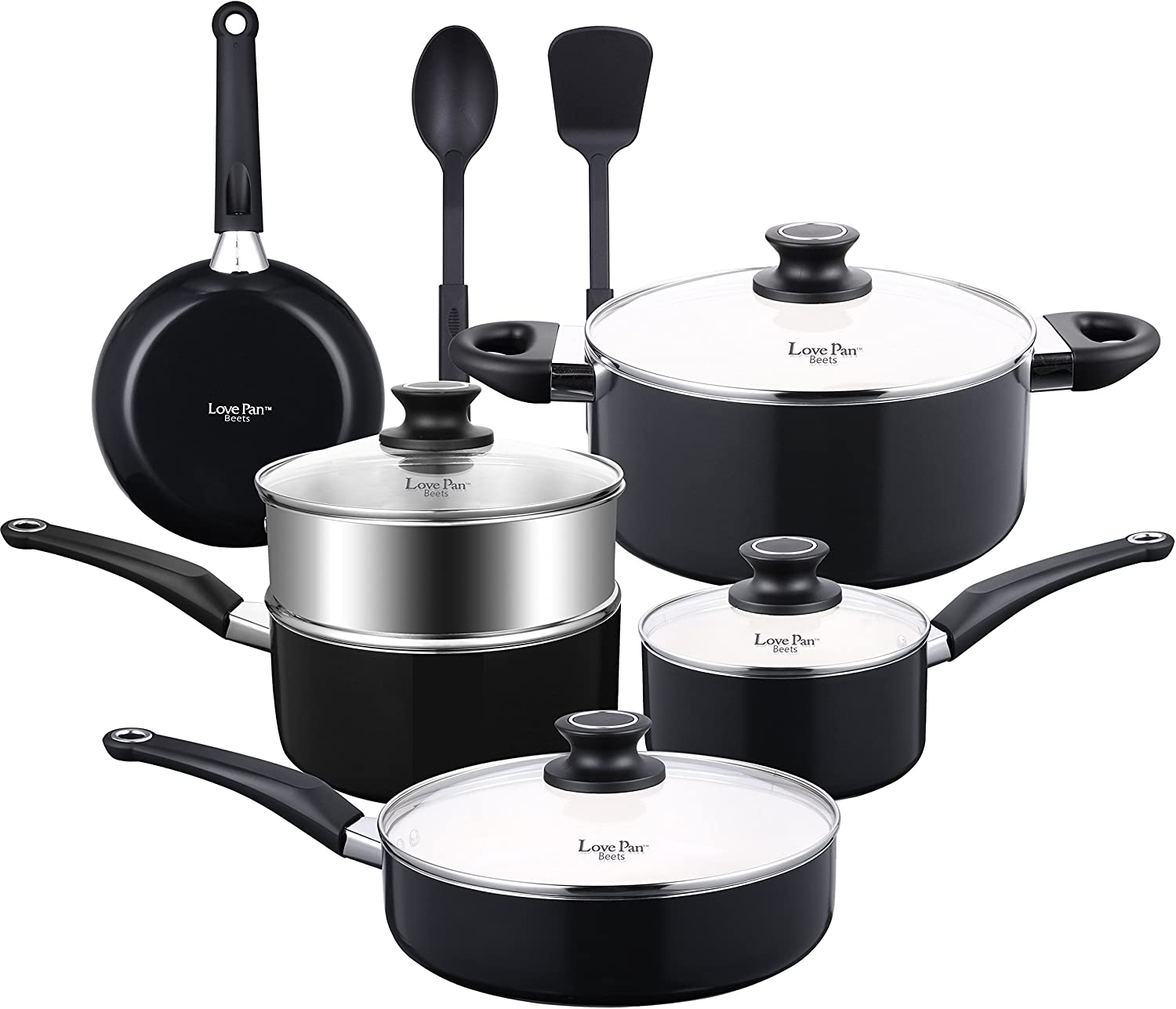 Cook Code Pots and Pans, White Ceramic Coating Nonstick Aluminum Cookware Set with Glass Lids and Nylon Utensils, Sauce Pan with Steamer PTFE, PFOA Free, 12-PCS Black