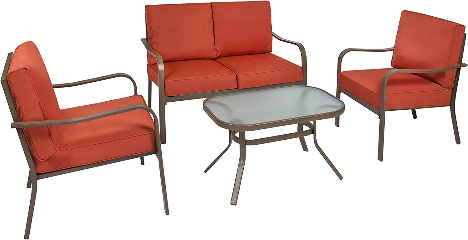 Best Choice Products 4-Piece Cushioned Patio Furniture Conversation Set w/Loveseat, 2 Chairs, Coffee Table - Red: Garden & Outdoor