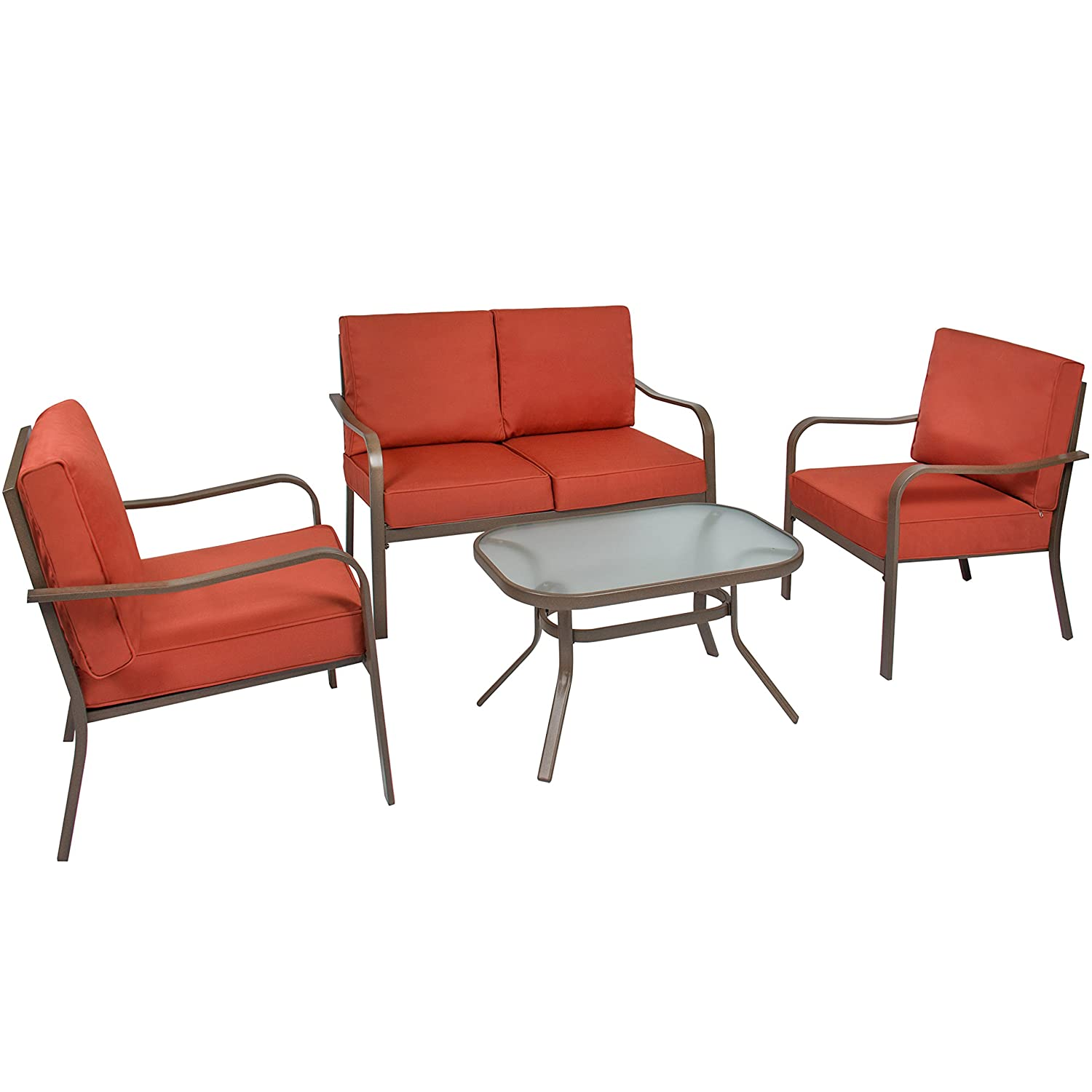 Best Choice Products 4-Piece Cushioned Metal Conversation Set with 2 Chairs and Glass Top Coffee Table, Red