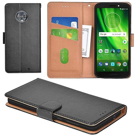 san francisco 3eae6 e6a42 Aicoco Moto G6 Plus Case Flip Cover Leather Wallet Phone Case for Motorola  Moto G6 Plus - Black