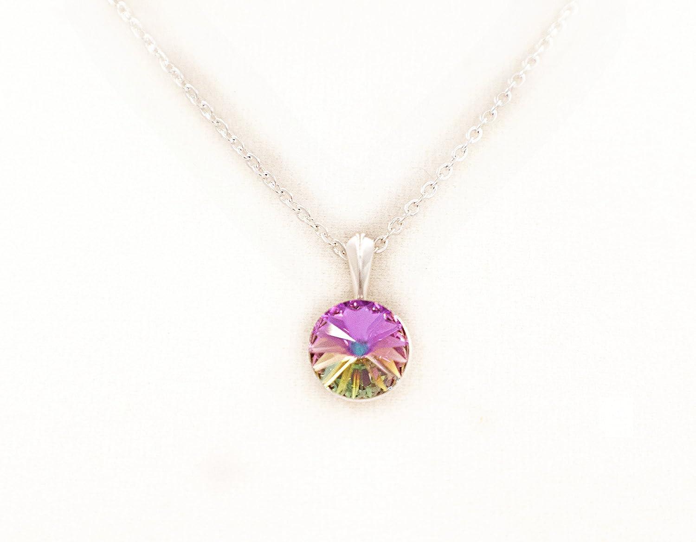 Handmade Vitrail Swarovski Crystal Pendant Necklace