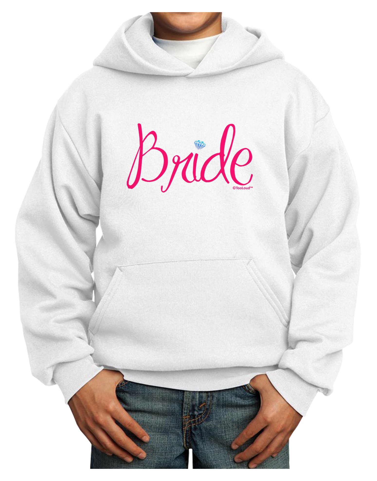 TooLoud Bride Design - Diamond - Color Youth Hoodie White Extra-Large