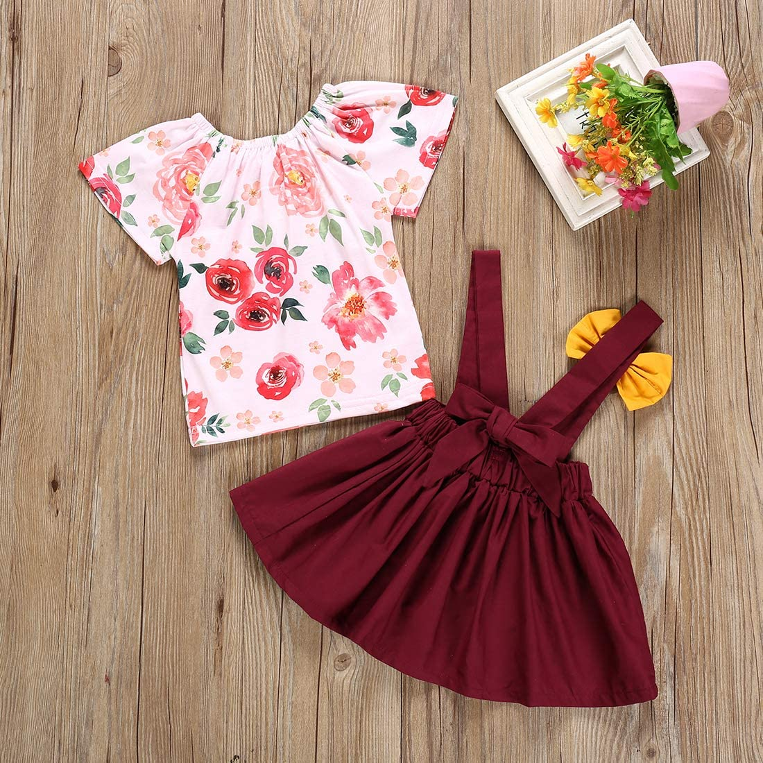 Toddler Baby Girl 2pcs Outfits Floral Short Sleeve Ruffled T-Shirt Top+Suspender A-Line Skirt Overalls Set