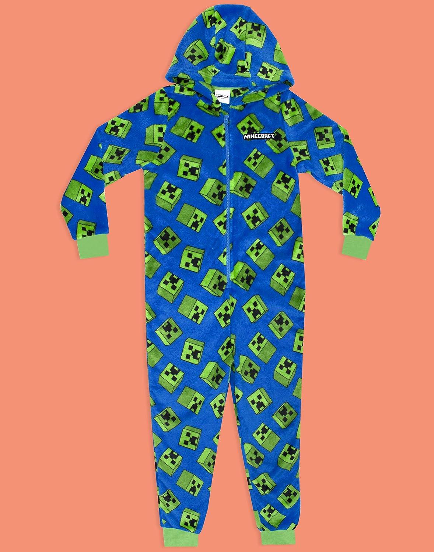 Vanilla Underground Minecraft Creeper Blue Boys a Maniche Lunghe con Cappuccio Tutina Pajama
