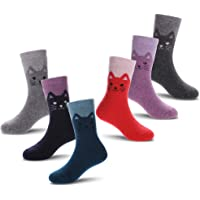 FANZERO 6 Pairs Childrens Winter Thick Soft Warm Wool Crew Socks Kids Boys Girls Socks