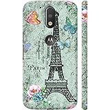 Colorpur Moto G4 Plus Logo Cut Cover - I Love Paris Flowers And Eiffel Tower Printed Back Case