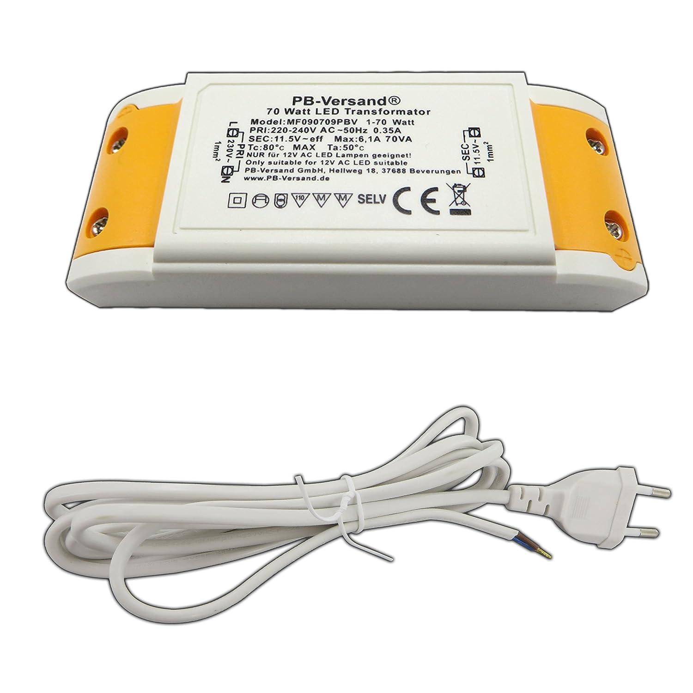 PB-Versand - Transformador LED (1-70 W, 12 V CA, pequeñ o y compacto, de alto rendimiento, para G4, GU5.3, MR16, MR11 y má s) PB-Versand®