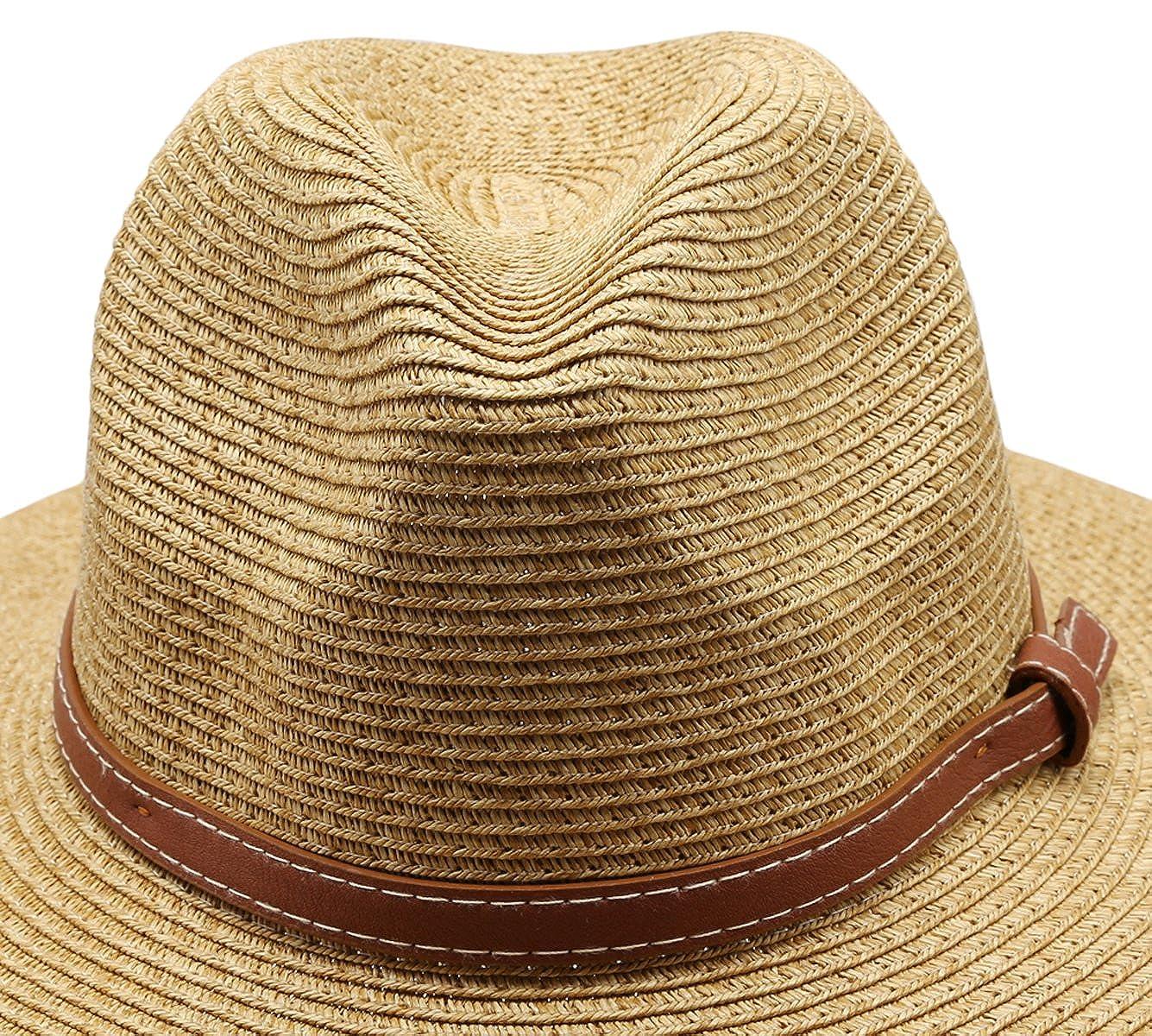 8c3f07dffe2 Women s Braid Straw Wide Brim Classic Fedora Sun Hat UPF 50+ with  Adjustable Drawstring (F2250