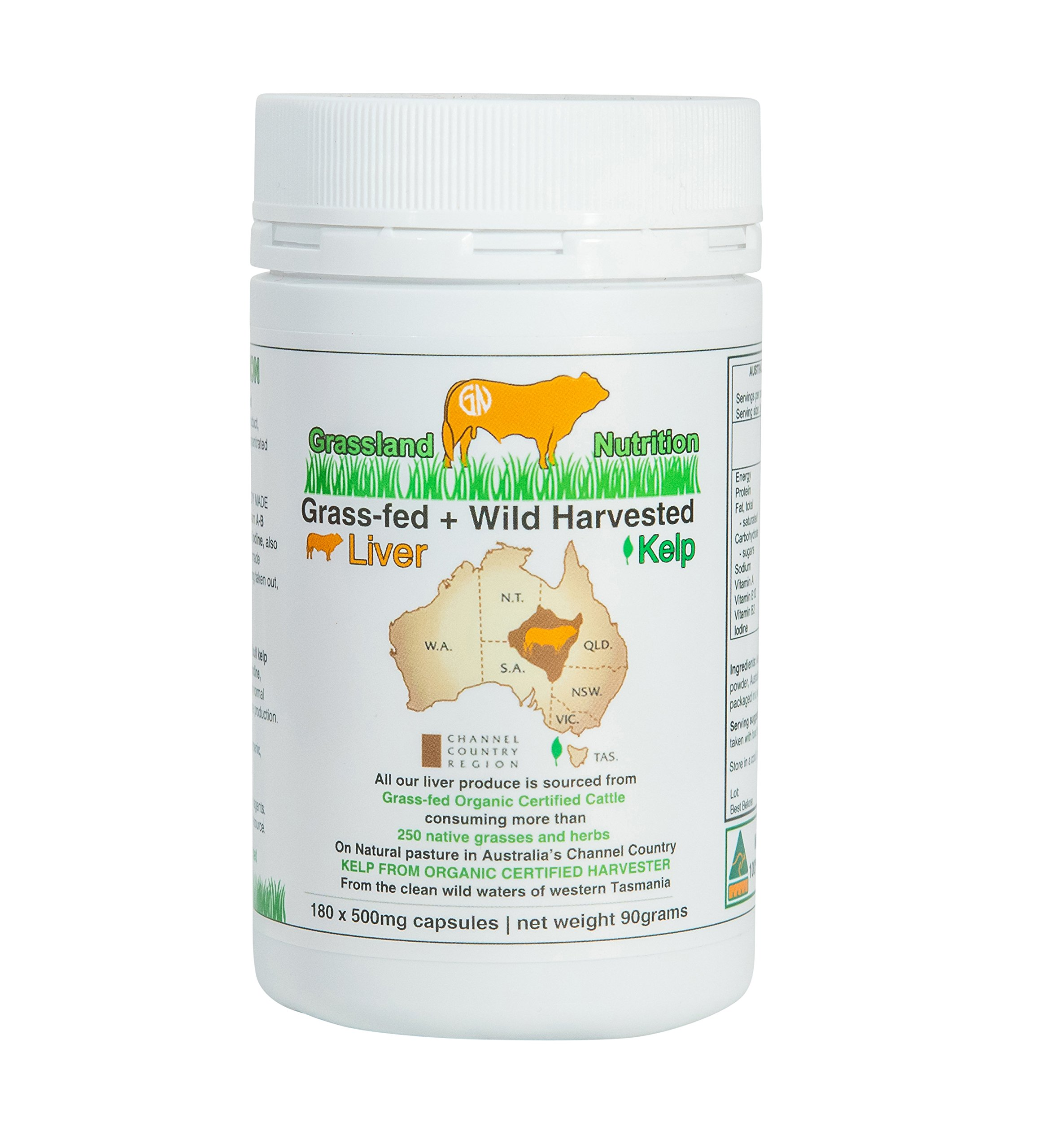 Grass Fed Beef Liver with Wild Harvested Kelp 100% Organically/Halal Sourced 2-IN-1 Energy Formula - Natural B12, Iodine, Iron & Vitamin A (180 Capsules)   by Grassland Nutrition