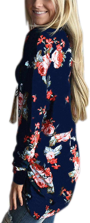 Ecowish Donna Boho Irregolare Manica Lunga Avvolgente Kimono Cardigan Casual Coverup Cappotto Tops Outwear