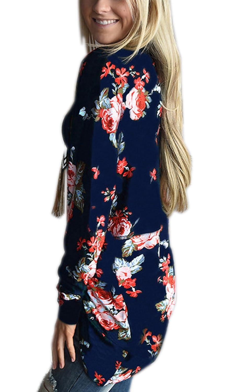 ECOWISH Womens Boho Irregular Long Sleeve Wrap Kimono Cardigans Casual Coverup Coat Tops Outwear EH244