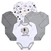 Baby Essentials 4-Pack Long Sleeved Bodysuits (3 Month, Elephant)