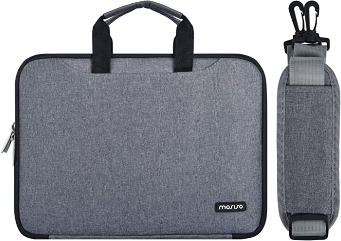 MOSISO Laptop Shoulder Bag Compatible 13-13.3 inch MacBook Air, MacBook Pro(Retina) 2012-2015, 2018/2017/2016, Polyester Double Layer Multifunctional Organizer Sleeve with Accessory Pockets, Gray