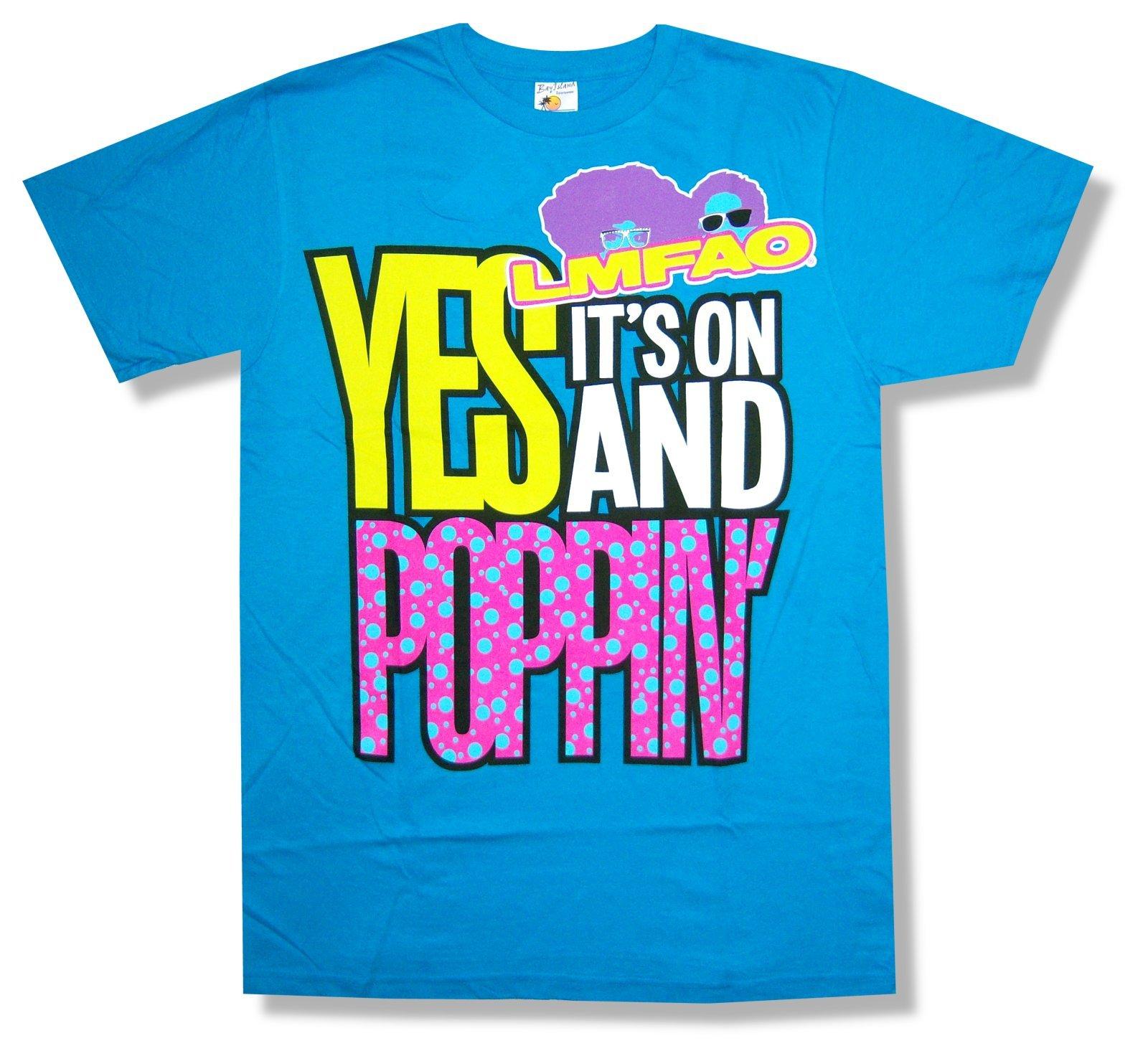 Adult Lmfao Poppin' Aqua Blue Shirts