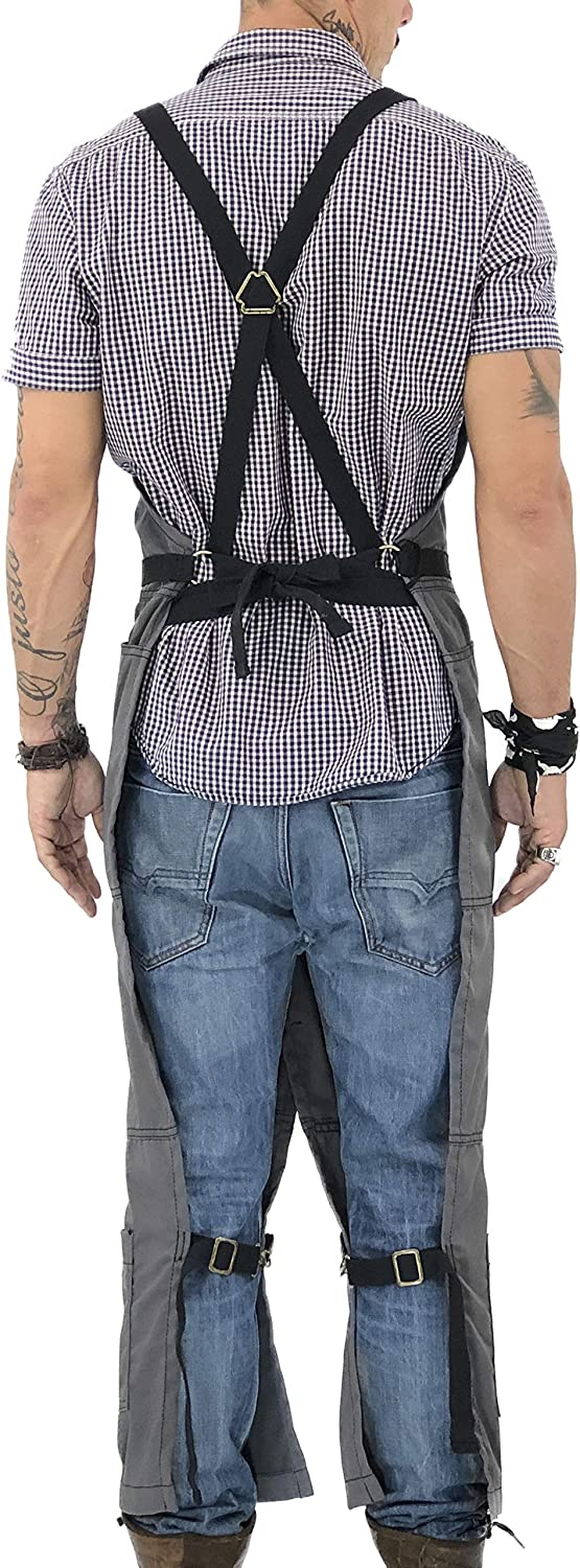 Pro Pottery Artist Leather Reinforcement and Overlapping Split-Leg Tattoo Aprons Durable Denim Under NY Sky Pottery Blue Apron Full Coverage Cross-Back Adjustable for Men and Women Mechanic